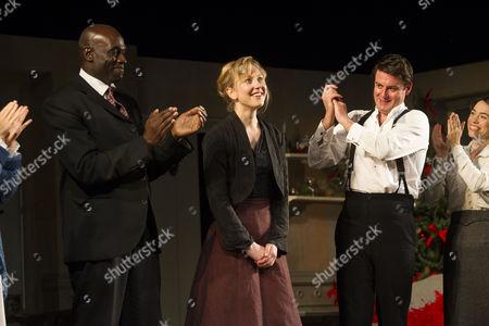 Steve Toussaint (Dr Rank), Hattie Morahan (Nora), Dominic Rowan (Torvald) and Caroline Martin (Kristine Linde) during the curtain call
