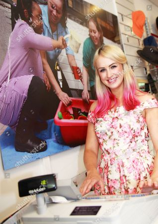 Editorial image of Leanne Jarvis launches Haven House's new charity shop, Epping, Essex, Britain - 14 Aug 2013