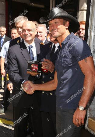Editorial photo of Tim McGraw and Duracell presents FDNY with donation, New York, America - 15 Aug 2013
