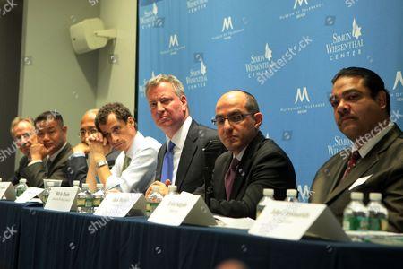 New York City Mayoral Candidates George McDonald, New York City Comptroller John Liu, Bill Thompson, Anthony Weiner, New York Public Advocate Bill de Blasio, Erick Salgado and Jack Hidary