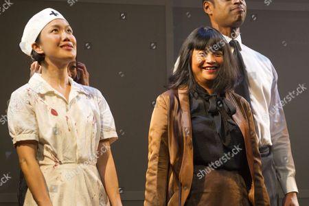 Elizabeth Chan (Zhang Shen) and Sarah Lam (Feng Meihui/Old Ming Sheng) during the curtain call
