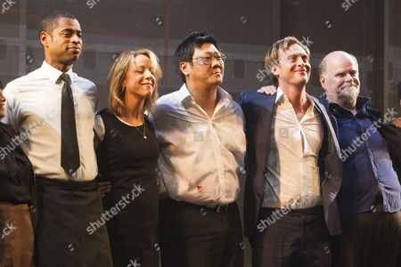 Karl Collins (David/Peter/Paul/Officer), Claudie Blakley (Tessa), Benedict Wong (Zhang Lin), Stephen Campbell Moore (Joe) and Trevor Cooper (Frank) during the curtain call
