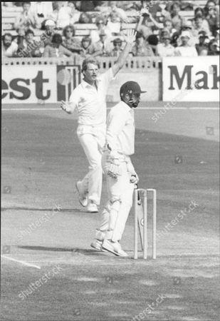 Cricket: Australian Tour Of England 1981 - England V Australia Fifth Test - Dennis Lillee Out As Paul Allott Celebrates.
