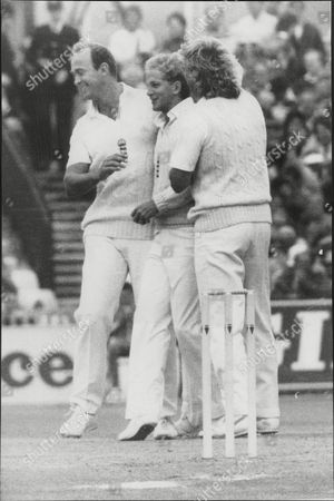 Stock Photo of Cricket: Australian Tour Of England 1985 - England V Australia Fourth Test Match. David Gower Is Congratulated By Phil Edmonds And Ian Botham After Catching Andrew Hilditch (exact Date Taken Unknown).