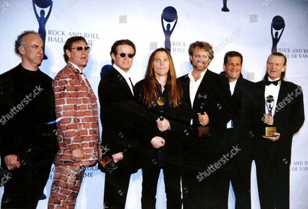 Stock Picture of Past and present members of The Eagles - Bernie Leadon, Joe Walsh, Don Henley, Timothy B Schmit, Don Felder, Glenn Frey and Randy Meisner
