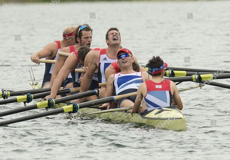 Team Gb Compete In The Mens Eight. Rowing/ Eton Dorney. Alex Partridge James Foad Tom Ransley Richard Egington Mohamed Sbihi Greg Searle Matthew Langridge Constantine Louloudis And Phelan Hill.london Olympics 2012. . 1st August 2012.