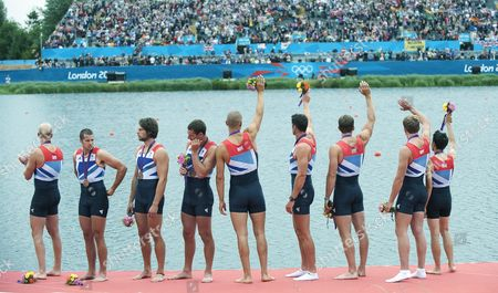 Alex Partridge James Foad Tom Ransley Richard Egington Mohamed Sbihi Greg Searle Matthew Langridge Constantine Louloudis And Phelan Hill. London Olympics 2012. Rowing/ Eton Dorney. Team Gb Compete In The Mens Eight. . 1st August 2012.