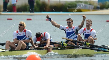 Gb Mens Four Wins Gold With Alex Gregory Pete Reed Tom James And Andrew Triggs-hodge August 4th.2012. London. Olym Games. Eton Dorney. Rowing