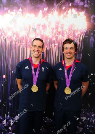 London 2012 Olympic Games Team Gb's Canoe Slalom Medalists (l-r) Etienne Stott And Tim Baillie With Their Gold Medals.