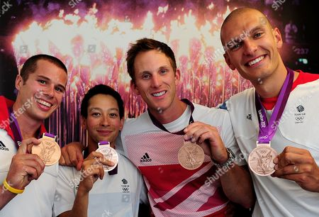 Editorial Use Only. This Material Is Provided Under The Terms Of The 2012 Nopp Agreement Free For Use From 25/07/2012 Until 31/12/2012. Mandatory Credit Must Be Observed. London 2012 Olympic Games - Team Gb's Rowers (l-r) James Foad Phelan Hill Matt Langridge And Moe Sbihi With Their Bronze Medals From The Men's 8. No Commercial Use. No Photo-sales To The Public. National Newspapers Only.
