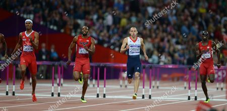 GB's Dai Greene Clears The Last Hurdle And Finishes Fourth Mens 400m Hurdles Final London Olympics 2012 .  Olympic Stadium 06/08/2012