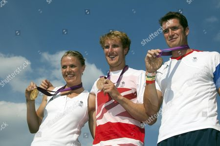 (left To Right ) Olympic Medalists Rowers Anna Watkins George Nash And Greg Searle At Hyde Park.