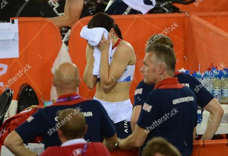 Victoria Pendleton After Disqualification. London Olympic Games 2012. Cycling Womens Team Sprint Veleodrome Great Britains Victoria Pendleton Disqualified From Event With Jessica Varnish.