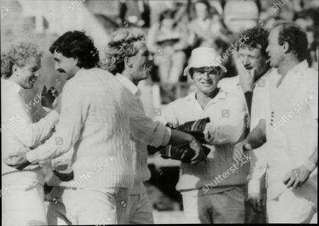 Cricket: Australian Tour Of England 1985 - England V Australia 5th Test At Edbaston - Celebration Time For England - David Gower Les Taylor Ian Botham Paul Downton Richard Ellison And Phil Edmonds (date Taken Unknown).