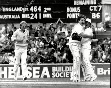 Editorial picture of Cricket: Australian Tour Of England 1985 - England V Australia 6th Test At The Oval - Richard Ellison And Paul Downton Celebrate As England Skipper David Gower Runs In.