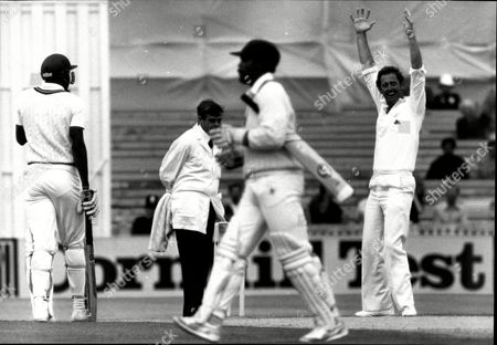 Cricket: West Indies Tour Of England 1984 Test Series - Pat Pocock Jumps In Delight (r) As Gordon Greenidge Eventually Goes For 223.