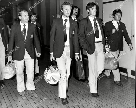 Stock Image of Australian Cricket Manager With Players Kim Hughes John Dyson And Allan Border Arriving At Heathrow Airport For The 1981 Australian Cricket Tour Of England.