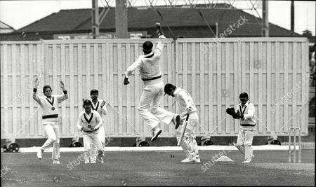 Cricket: Australia Tour Of England 1981 - England V Australia 5th Test - Mike Gatting Bows His Head After Being Caught By Allan Border (2nd Left) Off The Bowling Of Dennis Lillee Who Leaps For Joy.