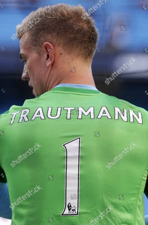 Goalkeeper Joe Hart of Manchester City and England wears a Goalkeepers jersey in the Memory of Bert Trautmann, legendary Manchester City Goalkeeper