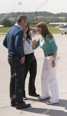 Carol successfully completes her first solo flight - Debra Ford, Carol Vorderman and boyfriend Graham Duff