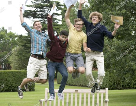 Jumping for joy, (L-R) Sam Ashby, Ahmed Qureshi, Oscar Haynes, Ben Davidson