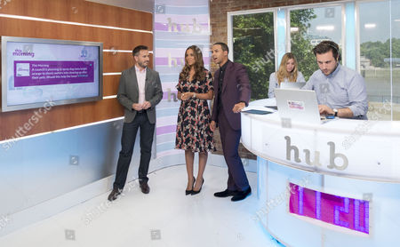 Rochelle and Marvin Humes with Nigel Mitchell and Christian Howes in the hub