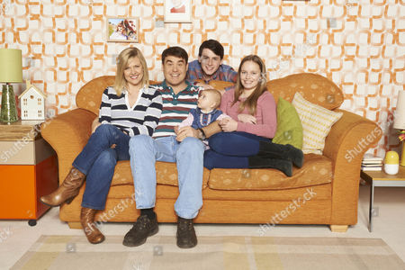 L-R: Ashley Jensen as Sarah, Stewart Wright as Kevin, Baby Bridget, George Boden as Nathan and Eryn McNally as Abby.