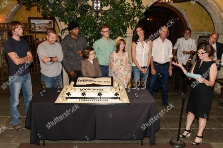Editorial picture of NCIS Los Angeles 100th episode cake cutting event, Los Angeles, America - 23 Aug 2013