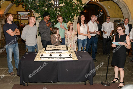 Editorial image of NCIS Los Angeles 100th episode cake cutting event, Los Angeles, America - 23 Aug 2013