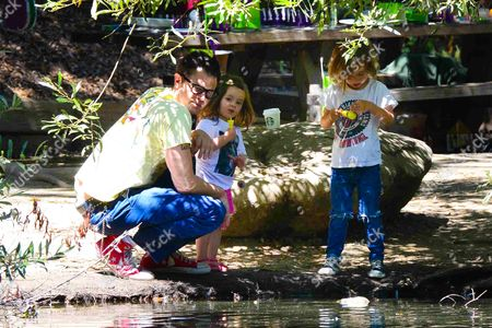 Johnny Knoxville with daughter Arlo Clapp and son Rocko Akira Clapp