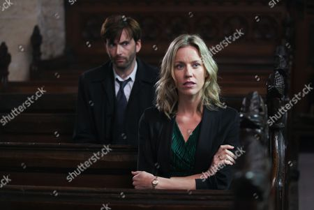 David Tennant as Alec Hardy and Simone McAullay as Becca Fisher