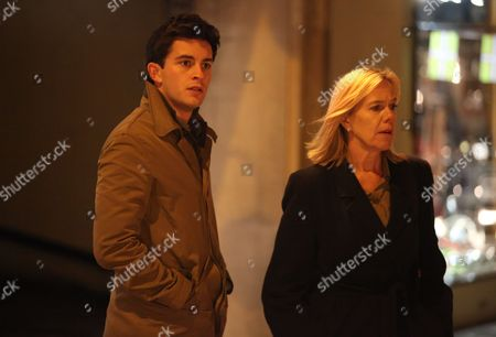 Jonathan Bailey as Olly Stevens and Carolyn Pickles as Maggie Radcliffe.