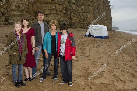 Stock Image of Charlotte Beaumont as Chloe Latimer, Jodie Whittaker as Beth Latimer, Andrew Buchan as Mark Latimer, Susan Brown as Liz Roper and Oskar McNamara as Danny Latimer.
