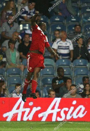 Swindon Town's Nile Ranger celebrates scoring the opening goal