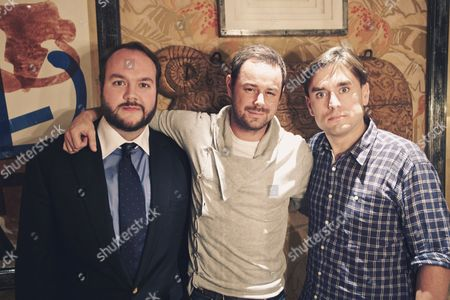 Danny Dyer, Jonathan Sothcott and James Mullinger writing their new book 'The Films Of Danny Dyer'
