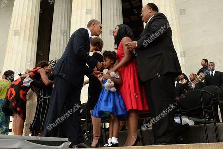 Barack Obama, Martin Luther King III, Arndrea Waters King and Yolanda Renee King