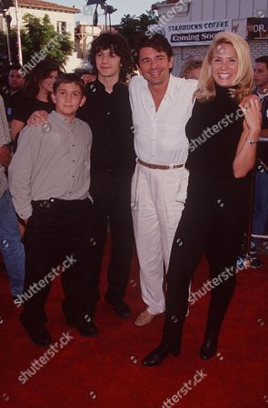 ADRIAN ZMED WITH GIRLFRIEND SUSAN WOOD AND HIS SONS, DYLAN AND ZACH