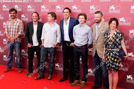 Ronie Gene Blevins, David Gordon Green, Nicolas Cage, Tye Sheridan, Christopher Woodrow and Lisa Muskat