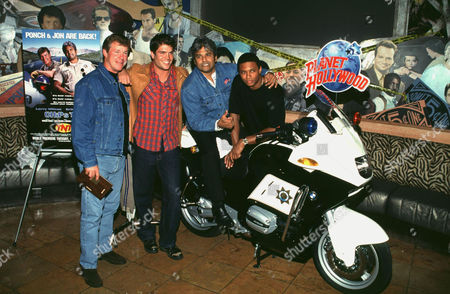 Stock Photo of LARRY WILCOX, ERIC ESTRADA, DAVID RAMSEY, AND PAUL KORVER