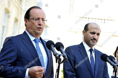 Stock Photo of Francois Hollande and Ahmed Jarba