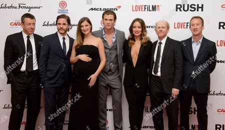 Peter Morgan, Daniel Bruhl, Alexandra Maria Lara, Chris Hemsworth, Olivia Wilde, Ron Howard and Andrew Eaton