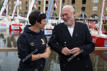 Ellen MacArthur chats to Sir Robin Knox-Johnston at St Katharine Docks ahead of the official start