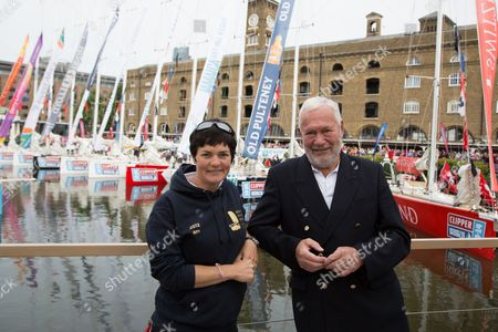 Ellen MacArthur poses with Sir Robin Knox-Johnston at St Katharine Docks ahead of the official start
