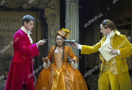 Matthew Needham as Candide, Ishia Bennison as the Countess, Richard Goulding as the Playwright