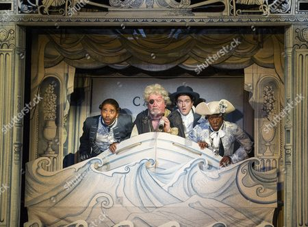Kevin Harvey as Jacques, Ian Redford as Pangloss, Ciaran Owens as Sailor, Dwane Walcott as Candide-the Actor