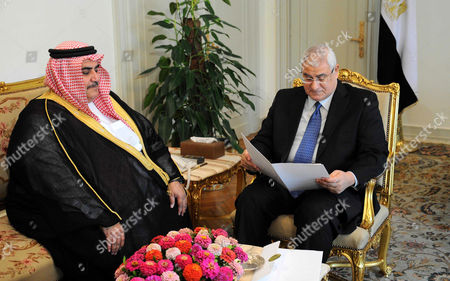 Bahrain Foreign Affairs Minister Sheikh Khaled bin Ahmed al-Khalifa meets with Egypt's Interim President Adly Mansour