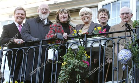 Editorial image of The Heritage Foundation Unvail A Plaque To Actor John Inman In Maida Vale London.pic Shows Former Are You Being Served Cast Members Left To Right. Jess Conrad Nicolas Smith Dorothy Vernon Wendy Richard Mike Berry And David Croft On The Balcony Of Joh