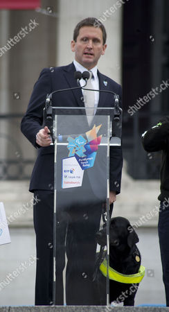 The Lighting Of The English Paralympic Flame In Trafalgar Square London. Chris Holmes Hosts The Event.