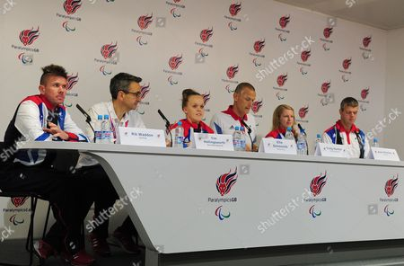Editorial photo of London 2012 Paralympic Games Paralympicsgb Team Members (l-r) Rik Wadden Tim Hollingsworth Ellie Simmonds Chef De Mission Craig Hunter Anna Sharkey And Dave Clarke At The Paralympic Games Press Conference In Paralympicgb House Stratford.