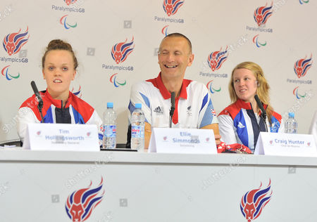 Stock Picture of London 2012 Paralympic Games Paralympicsgb Team Members (l-r) Ellie Simmonds Chef De Mission Craig Hunter And Anna Sharkey During The Paralympic Games Press Conference In Paralympicgb House Stratford.